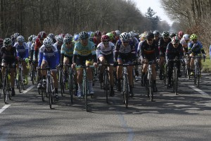 Julie leading the peloton at the Ronde van Drenthe. Photo: portfoto.nl/ SF Road 2015