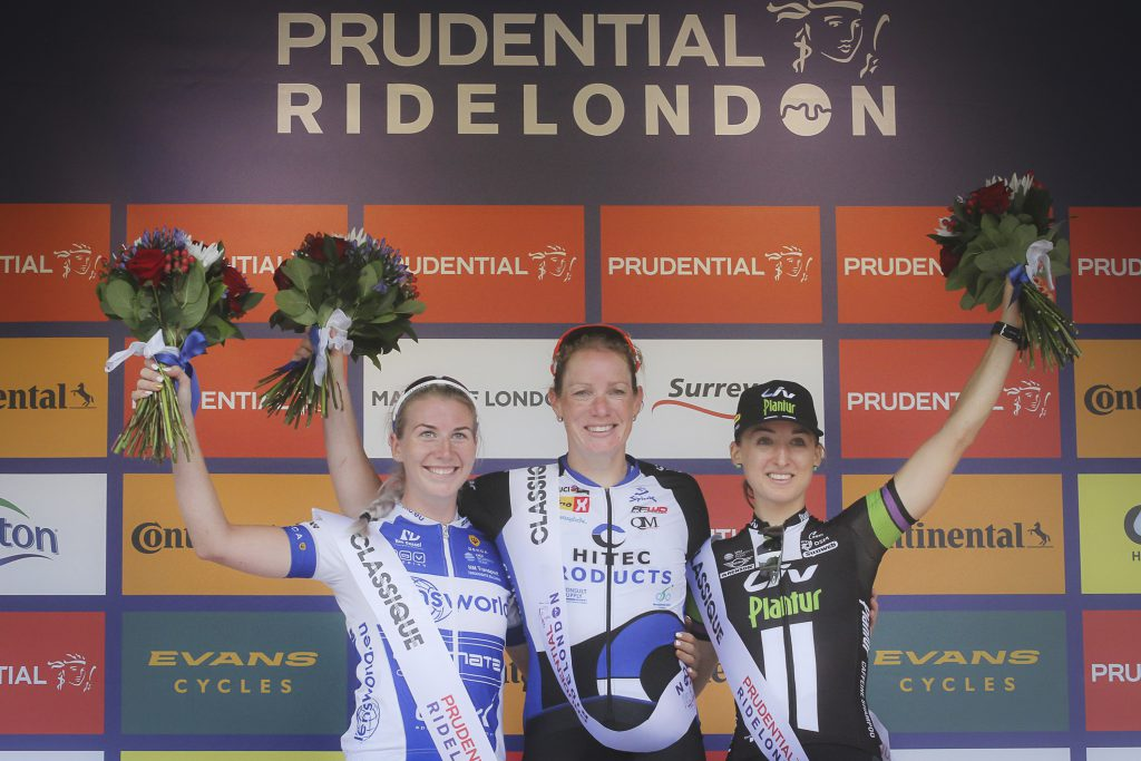 Kirsten Wild (Hitec Products) with Nina Kessler (Lensworld-Zannata) in second to the left and third place finisher Leah Kirchmann (Liv-Plantur). Photo: Sportfot.nl/SF Road 2016